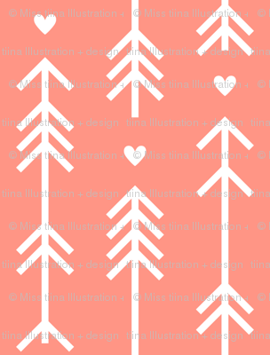arrows and hearts peach