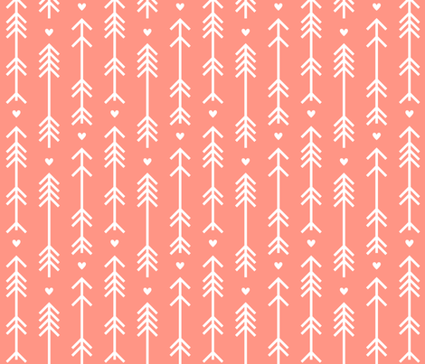arrows and hearts peach fabric by misstiina on Spoonflower - custom fabric