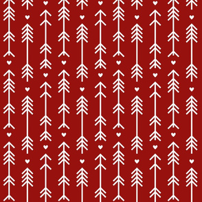 arrows and hearts dark red