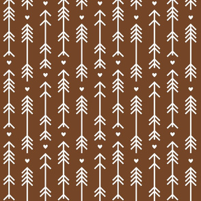 arrows and hearts chocolate brown
