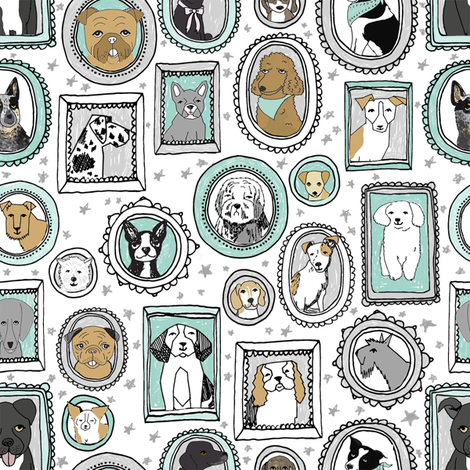 doggo portraits // cute dog, dogs, dog breed, pet, pets, cute dog poodle, terrier, pets, - mint fabric by andrea_lauren on Spoonflower - custom fabric
