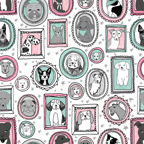 doggo portraits // cute dog, dogs, dog breed, pet, pets, cute dog poodle, terrier, pets, - pink and mint fabric by andrea_lauren on Spoonflower - custom fabric