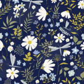 Daisies and Dragonflies | Navy