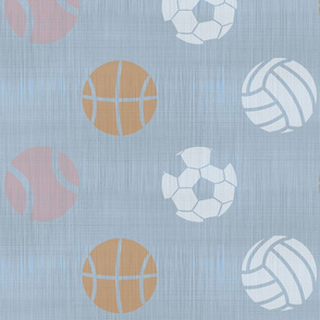 XL Sports balls on slate - tennis basketball volleyball soccer football