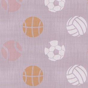 XL Sports balls on lavender - tennis basketball volleyball soccer football