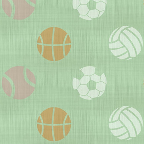 XL Sports balls on mint - tennis basketball volleyball soccer football