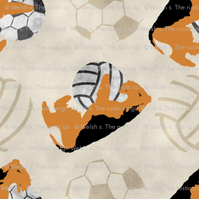 Small Airedale terriers and sports balls - tan volleyball soccer football