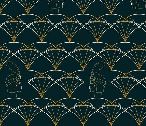 1920s flapper in ornaments fabric by carola_koberstein on Spoonflower - custom fabric