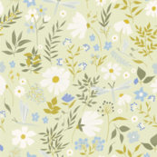 Daisies and Dragonflies | Light Green