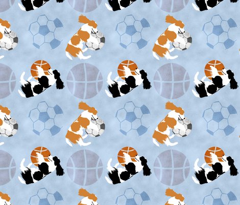 Large Spaniels and sports balls - blue basketball soccer football fabric by rusticcorgi on Spoonflower - custom fabric
