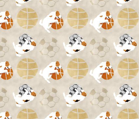 Large Jack Russell terriers and sports balls - tan basketball soccer football fabric by rusticcorgi on Spoonflower - custom fabric
