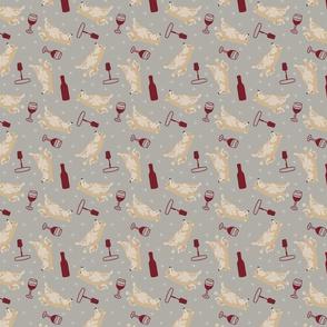 Tiny cream Shiba Inu - wine
