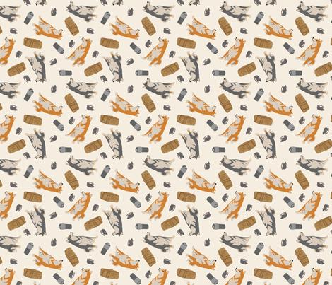 Tiny Shiba Inu B - barn hunting fabric by rusticcorgi on Spoonflower - custom fabric