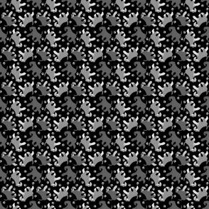 Trotting natural Miniature Schnauzers and paw prints - tiny black