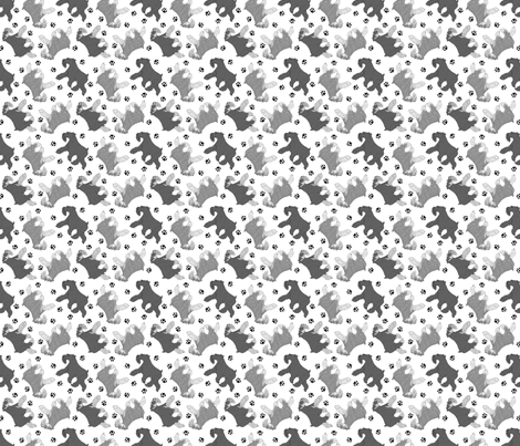 Trotting uncropped Miniature Schnauzers and paw prints - tiny white fabric by rusticcorgi on Spoonflower - custom fabric