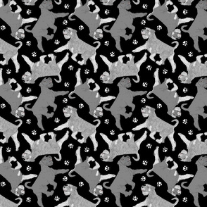 Trotting natural Standard Schnauzers and paw prints - black