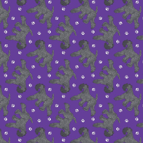 Trotting Kerry Blue Terrier and paw prints - purple