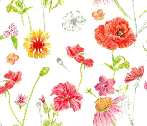 Red Flower Study fabric by countrygarden on Spoonflower - custom fabric