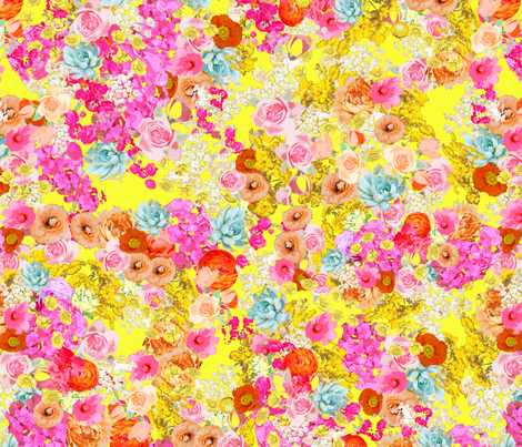 Summer Bright Floral // Neon Yellow fabric by theartwerks on Spoonflower - custom fabric