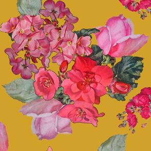 Vintage Roses // Mustard (Large Size)