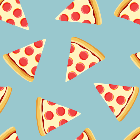 pizza slice (light blue) food fabric fabric by littlearrowdesign on Spoonflower - custom fabric