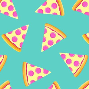 pizza slice (pink & teal) food fabric