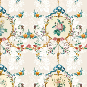 Le Toile de Fleurs vanilla damask