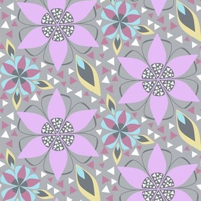 Large Nursery Floral Print with Triangle Inlay in Lilac Purple, Gray, Yellow, Blue
