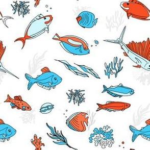 fish pattern orange