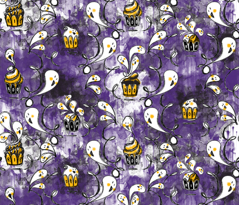 Ghoulish Treats in Purple - © Lucinda Wei fabric by lucindawei on Spoonflower - custom fabric