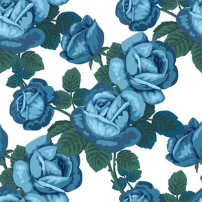 Vintage roses in blue