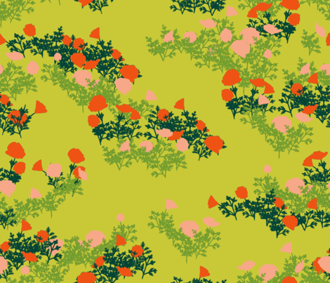 fey poppies peridot fabric by whatever-works on Spoonflower - custom fabric