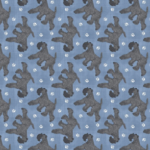 Trotting Kerry Blue Terrier and paw prints - faux denim