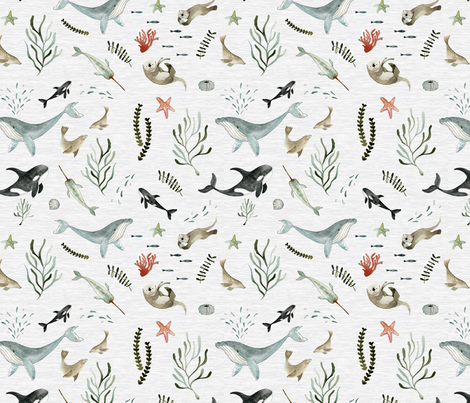 Pacific Ocean fabric by little_pine_artistry on Spoonflower - custom fabric
