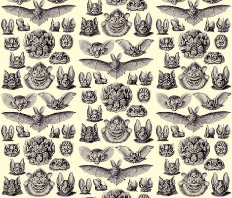 Ernst Haeckel Bats Lavender Sky fabric by sewingscientist on Spoonflower - custom fabric