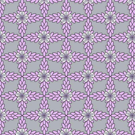 Gray Diamond Print with Lilac Purple Floral and Leaf  fabric by amborela on Spoonflower - custom fabric