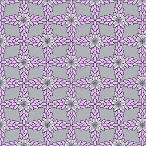 Gray Diamond Print with Lilac Purple Floral and Leaf