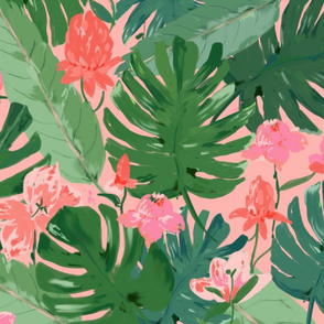 tropical floral - coral & pink