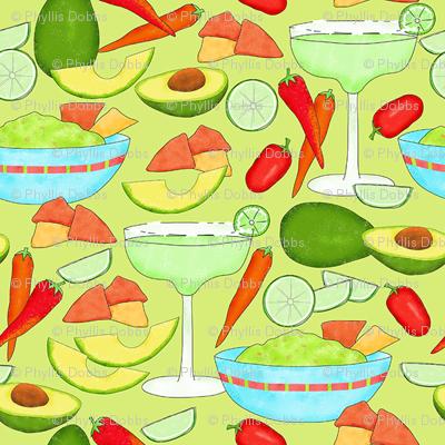 Margaritas and Guacamole Green Small