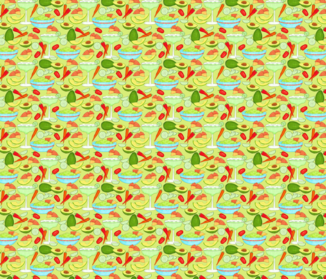 Margaritas and Guacamole Green Small fabric by phyllisdobbs on Spoonflower - custom fabric