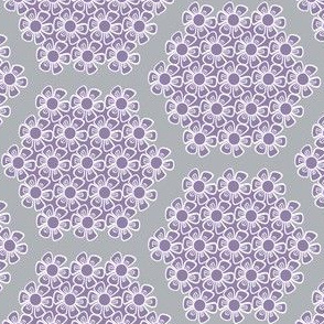 Gray and Violet Purple Flower Hexagons for Nursery Crib Bedding