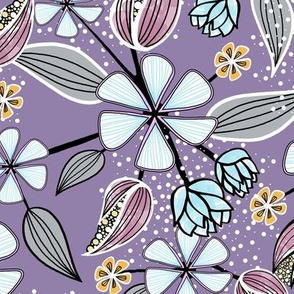 Floral Pint of Wildflowers, Leaves, and Seed Pods in Violet and Blue