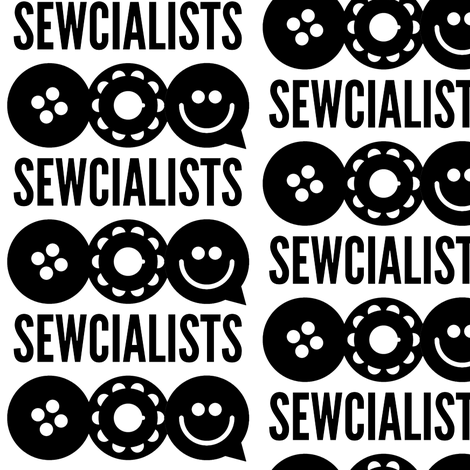 Official Sewcialists Logo - BW fabric by sewcialists on Spoonflower - custom fabric