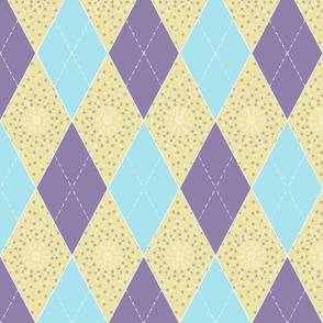 Aqua, Purple, Yellow Argyle Diamonds for Bunting
