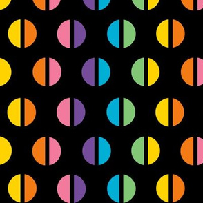 1960s Rainbow Split Polka Dots on Black REV