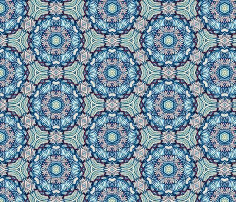 Chinoiserie Rose in Vintage Blues fabric by ruth_cadioli on Spoonflower - custom fabric