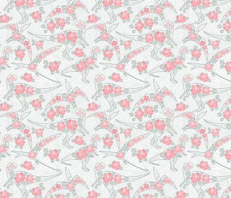 dinos lace - salmon color fabric by y_me_it's_me on Spoonflower - custom fabric
