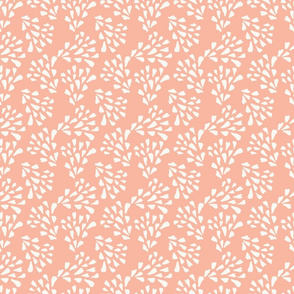 Multi directional abstract leaf design on apricot/coral