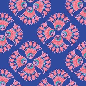 Paisley design on a royal blue base