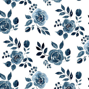 Watercolor Floral Pattern No. 6 - Navy Blue Roses 150 dpi 2